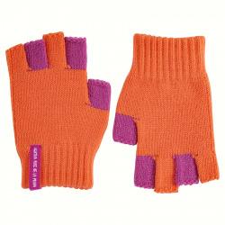 Bicolour fingerless gloves ORANGE