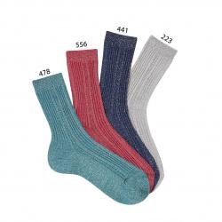 Chaussettes cotelées avec fil brillant