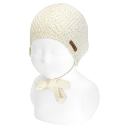 Merino blend knit hat with small relief BEIGE