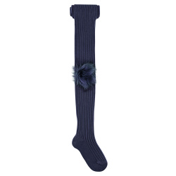 Rib tights with giant faux fur pompom NAVY BLUE