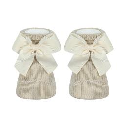 Baby warm cotton booties with grossgrainbow LINEN