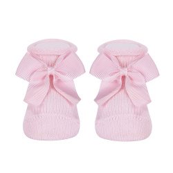 Baby warm cotton booties with grossgrainbow PINK
