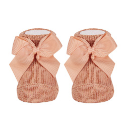 Baby warm cotton booties with grossgrainbow PEACH