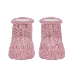 Baby warm cotton booties with front openwork PALE PINK