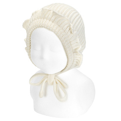 Merino blend bonnet with flounces BEIGE