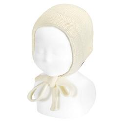 Fold-over garter stitch bonnet BEIGE