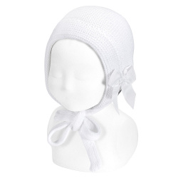 Fold-over garter stitch bonnet with grossgrain bow WHITE
