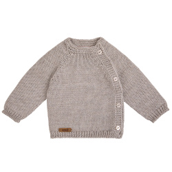 Jersey abrochado por delante de lana merino mezcla BEIGE