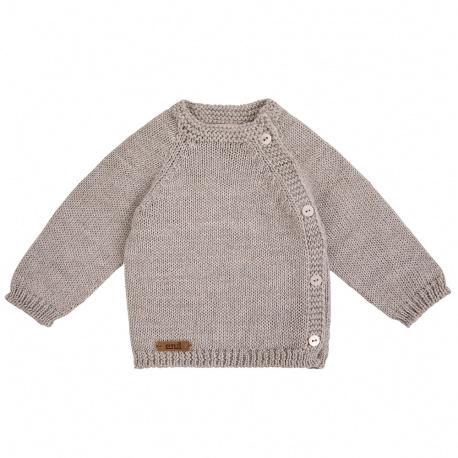 Pull boutonné devant en laine merinos mélangée BEIGE