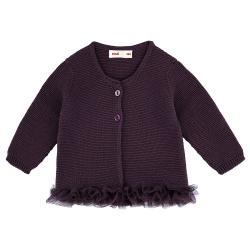 Garter stitch cardigan with tulle waist BOURDEAUX