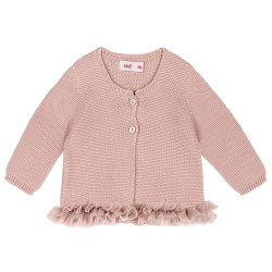 Garter stitch cardigan with tulle waist OLD ROSE