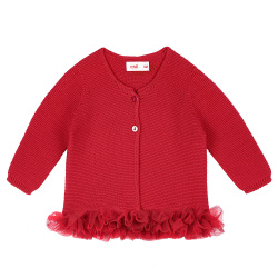 Garter stitch cardigan with tulle waist RED
