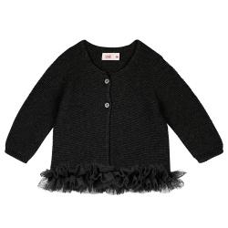 Garter stitch cardigan with tulle waist BLACK