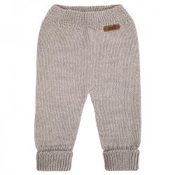 Pantalón largo punto liso de lana merino mezcla BEIGE
