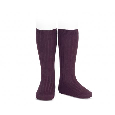 Basic rib knee high socks BURDEAUX
