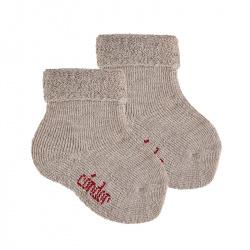 Chausson en laine bordure envers et tissu-éponge BEIGE