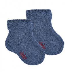 Chausson en laine bordure envers et tissu-éponge JEANS