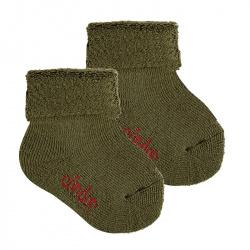 Merino wool-blend terry short socks w/folded cuff MOSS
