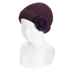English stitch fold-over knit hat w/tulle flower BURDEAUX