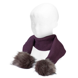 écharpe tricot avec pompom faux fur BORDEAUX