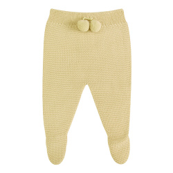 Garter stitch footed leggings with pompoms BANANA