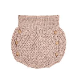 Culotte tricot micro relief en merino mélange NUDE
