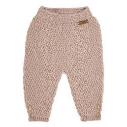 Pantalon tricot micro relief en merio mélange NUDE