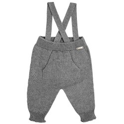 Garter stitich trousers with suspenders LIGHT GREY