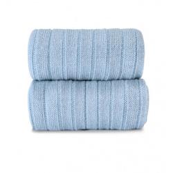 Calze lunghe a coste in misto lana merino BLUASTRO