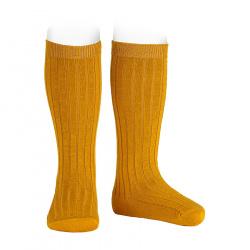 Chaussettes hautes côtelées en laine CURRY
