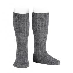 Chaussettes hautes côtelées en laine GRIS CLAIR