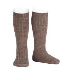 Chaussettes hautes côtelées en laine TRONC