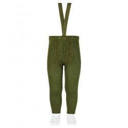 Merino wool-blend leggings w/elastic suspenders MOSS