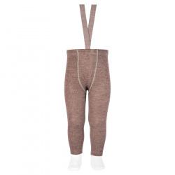 Merino wool-blend leggings w/elastic suspenders TRUNK