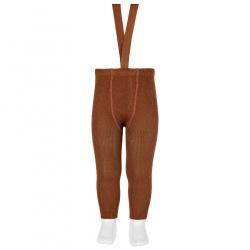 Merino wool-blend leggings w/elastic suspenders CHOCOLATE