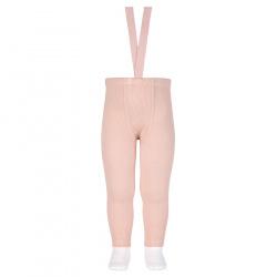 Merino wool-blend leggings w/elastic suspenders NUDE