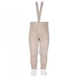 Merino wool-blend leggings w/elastic suspenders OATMEAL