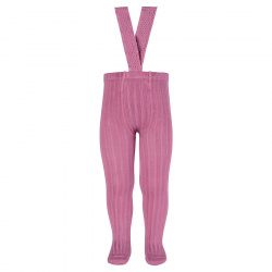 Rib tights with elastic suspenders CASSIS