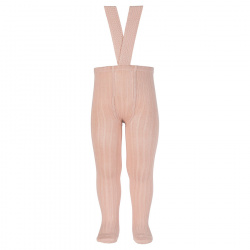 Rib tights with elastic suspenders OLD ROSE