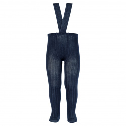 Rib tights with elastic suspenders NAVY BLUE