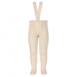 Rib tights with elastic suspenders LINEN