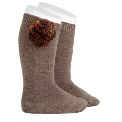 Wool knee-high socks with multicolour pompom TRUNK
