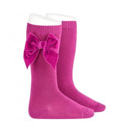 Chaussettes hautes avec noeud latéral velours PETUNIA