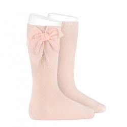 Knee socks with side velvet bow NUDE