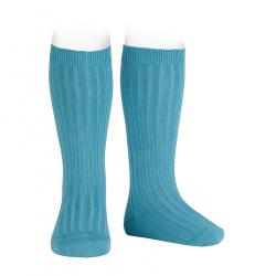 Basic rib knee high socks STONE BLUE