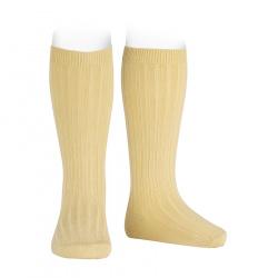 Basic rib knee high socks BANANA