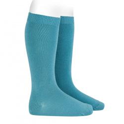 Plain stitch basic knee high socks STONE BLUE