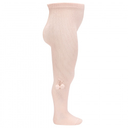 Baby cotton tights with small pompoms NUDE