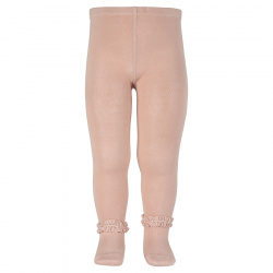 Lace edging tights OLD ROSE