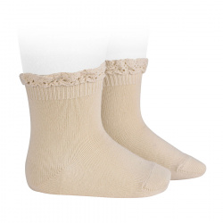 Short socks with lace edging cuff LINEN
